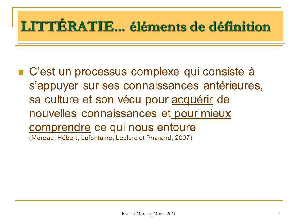 Ruel et Moreau, Mons, 2010 7 LITTÉRATIE... éléments de définition Cest un processus complexe qui consiste à sappuyer sur ses connaissances antérieures