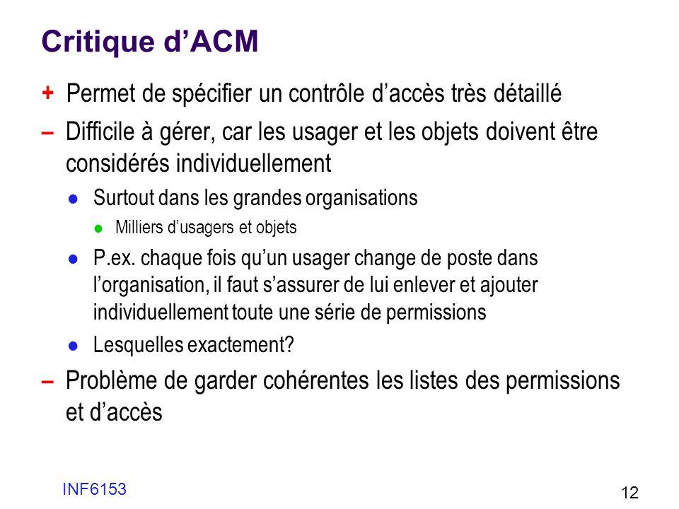 Critique dACM + Permet de spécifier un contrôle daccès très détaillé – Difficile à gérer, car les usager et les objets doivent être considérés individ