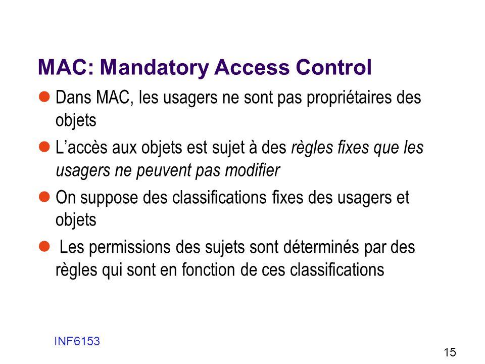 MAC: Mandatory Access Control Dans MAC, les usagers ne sont pas propriétaires des objets Laccès aux objets est sujet à des règles fixes que les usager