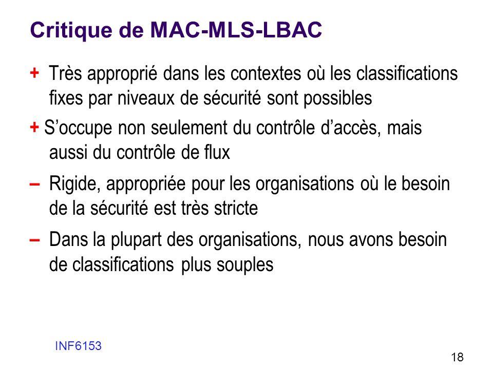 Critique de MAC-MLS-LBAC + Très approprié dans les contextes où les classifications fixes par niveaux de sécurité sont possibles + Soccupe non seuleme