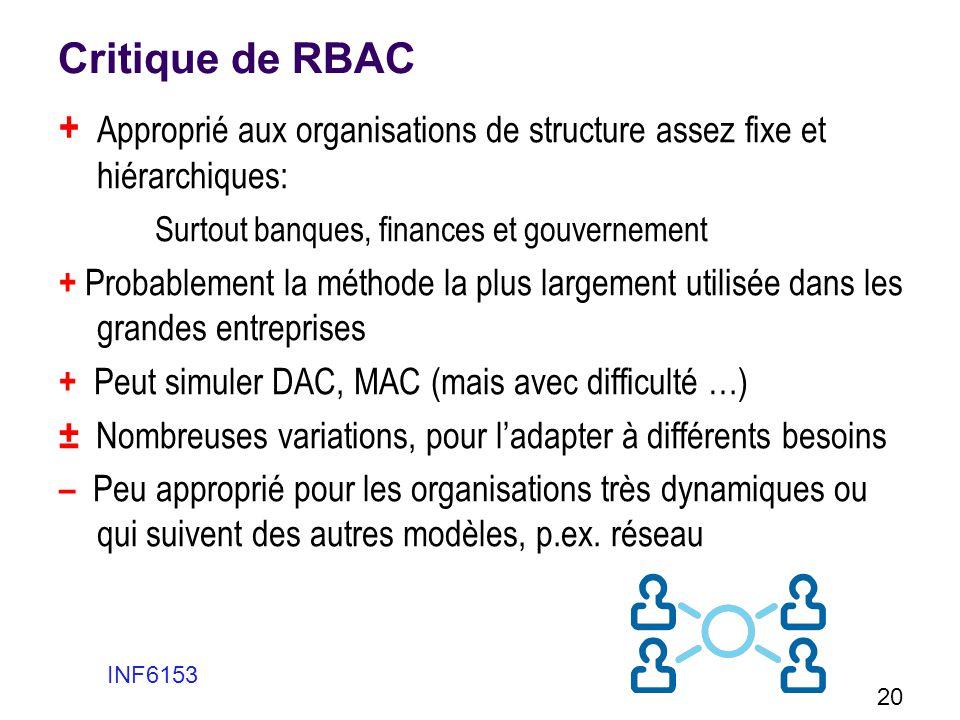 Critique de RBAC + Approprié aux organisations de structure assez fixe et hiérarchiques: Surtout banques, finances et gouvernement + Probablement la m