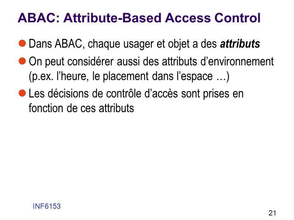 ABAC: Attribute-Based Access Control Dans ABAC, chaque usager et objet a des attributs On peut considérer aussi des attributs denvironnement (p.ex. lh