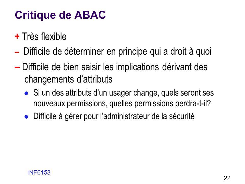 Critique de ABAC + Très flexible – Difficile de déterminer en principe qui a droit à quoi – Difficile de bien saisir les implications dérivant des cha