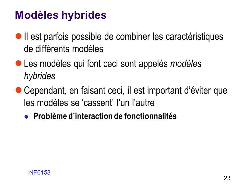 Modèles hybrides Il est parfois possible de combiner les caractéristiques de différents modèles Les modèles qui font ceci sont appelés modèles hybride