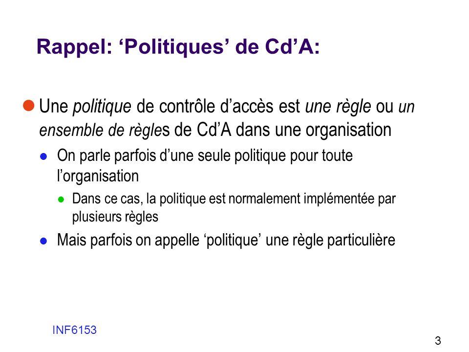 Rappel: Politiques de CdA: Une politique de contrôle daccès est une règle ou un ensemble de règle s de CdA dans une organisation On parle parfois dune
