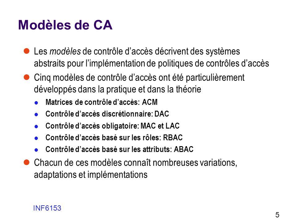 Modèles de CA Les modèles de contrôle daccès décrivent des systèmes abstraits pour limplémentation de politiques de contrôles daccès Cinq modèles de c