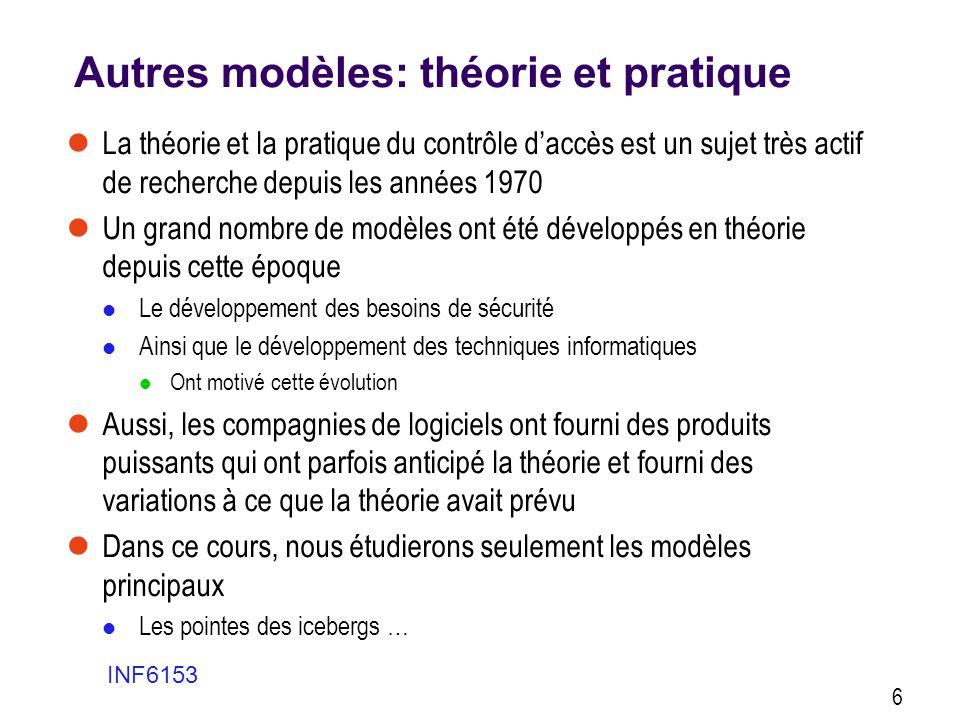 Autres modèles: théorie et pratique La théorie et la pratique du contrôle daccès est un sujet très actif de recherche depuis les années 1970 Un grand