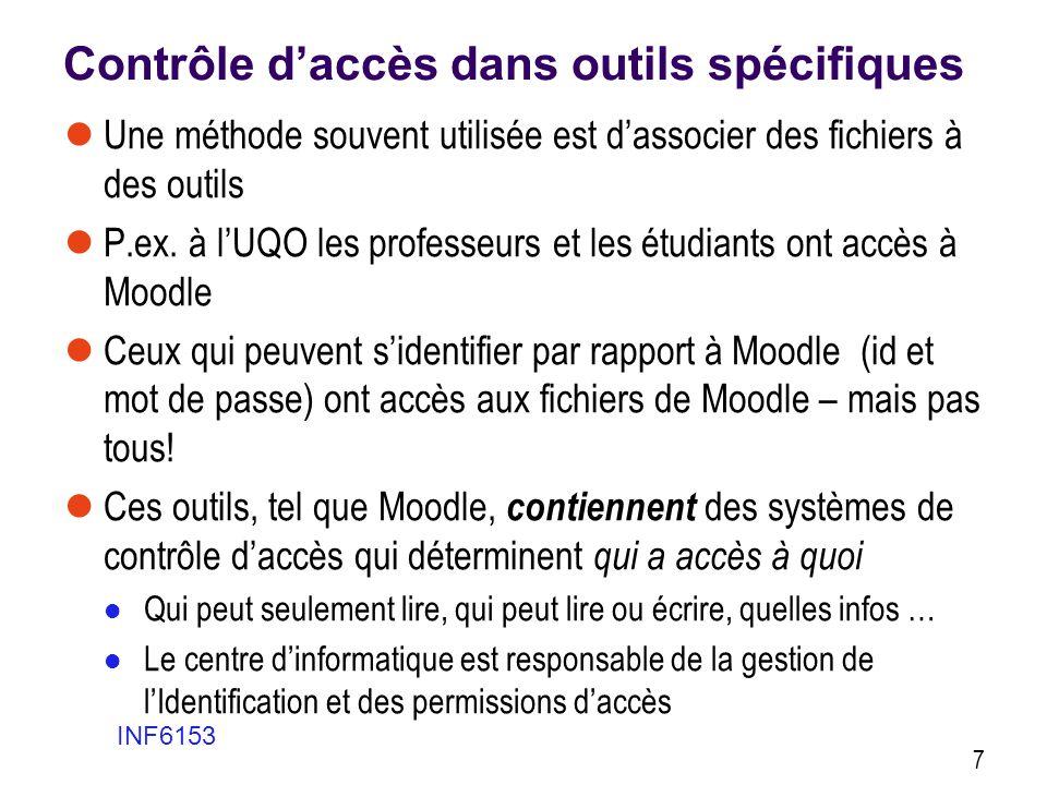 Contrôle daccès dans outils spécifiques Une méthode souvent utilisée est dassocier des fichiers à des outils P.ex. à lUQO les professeurs et les étudi