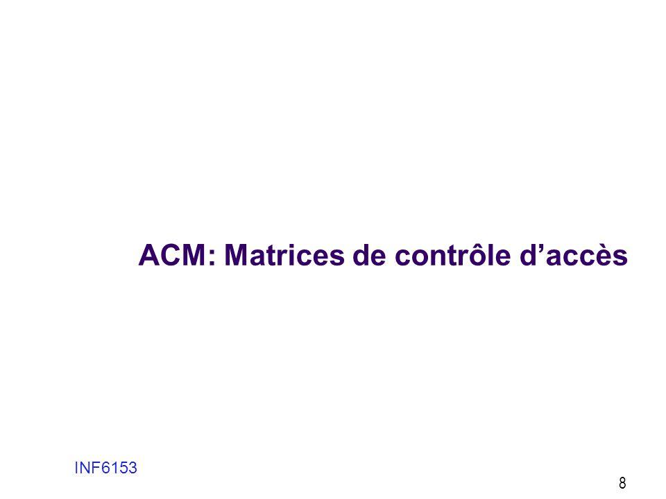 ACM: Matrices de contrôle daccès Le modèle le plus traditionnel et encore souvent utilisé Il utilise simplement des listes dusagers avec indication de tous les permissions de contrôle daccès pour chaque usager Les permissions sont donnés et modifiés par les administrateurs de la sécurité de lorganisation, suivant la politique de lorganisation 9 INF6153