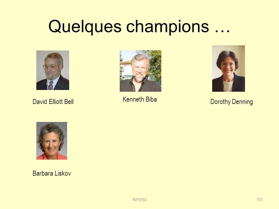 Quelques champions … INF6153110 Kenneth Biba David Elliott BellDorothy Denning Barbara Liskov