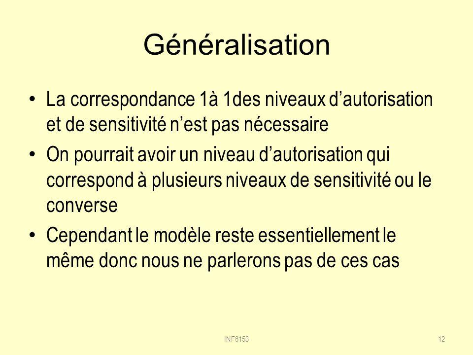 Généralisation La correspondance 1à 1des niveaux dautorisation et de sensitivité nest pas nécessaire On pourrait avoir un niveau dautorisation qui correspond à plusieurs niveaux de sensitivité ou le converse Cependant le modèle reste essentiellement le même donc nous ne parlerons pas de ces cas INF615312