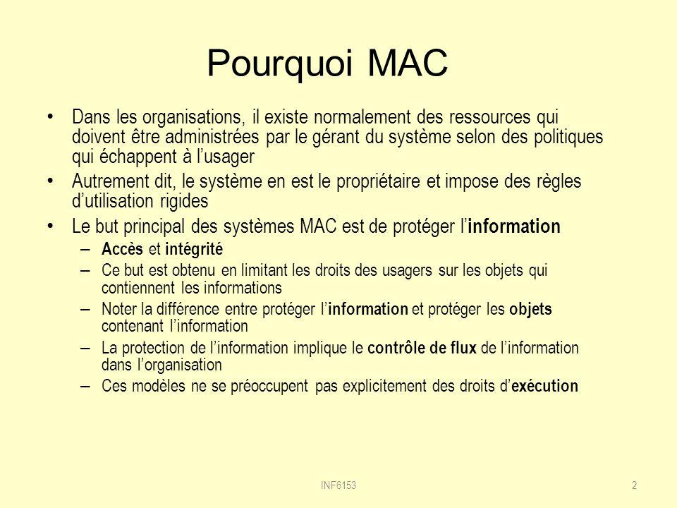 Pourquoi MAC Dans les organisations, il existe normalement des ressources qui doivent être administrées par le gérant du système selon des politiques qui échappent à lusager Autrement dit, le système en est le propriétaire et impose des règles dutilisation rigides Le but principal des systèmes MAC est de protéger l information – Accès et intégrité – Ce but est obtenu en limitant les droits des usagers sur les objets qui contiennent les informations – Noter la différence entre protéger l information et protéger les objets contenant linformation – La protection de linformation implique le contrôle de flux de linformation dans lorganisation – Ces modèles ne se préoccupent pas explicitement des droits d exécution 2INF6153