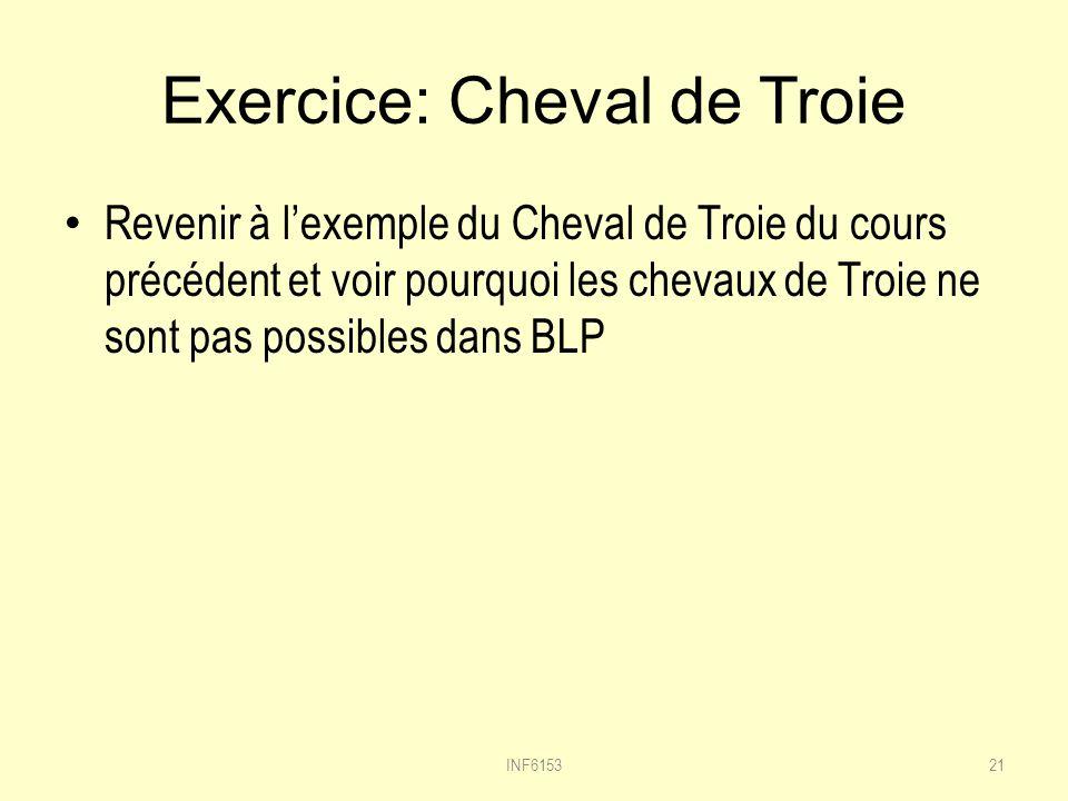 Exercice: Cheval de Troie Revenir à lexemple du Cheval de Troie du cours précédent et voir pourquoi les chevaux de Troie ne sont pas possibles dans BLP INF615321