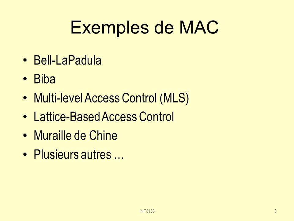 Exemples de MAC Bell-LaPadula Biba Multi-level Access Control (MLS) Lattice-Based Access Control Muraille de Chine Plusieurs autres … 3INF6153