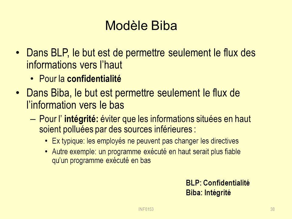 Modèle Biba Dans BLP, le but est de permettre seulement le flux des informations vers lhaut Pour la confidentialité Dans Biba, le but est permettre seulement le flux de linformation vers le bas – Pour l intégrité: éviter que les informations situées en haut soient polluées par des sources inférieures : Ex typique: les employés ne peuvent pas changer les directives Autre exemple: un programme exécuté en haut serait plus fiable quun programme exécuté en bas 38INF6153 BLP: Confidentialité Biba: Intégrité