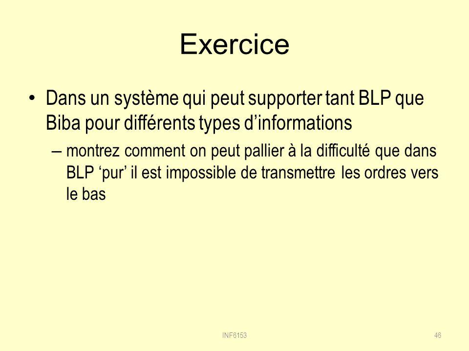 Exercice Dans un système qui peut supporter tant BLP que Biba pour différents types dinformations – montrez comment on peut pallier à la difficulté que dans BLP pur il est impossible de transmettre les ordres vers le bas INF615346