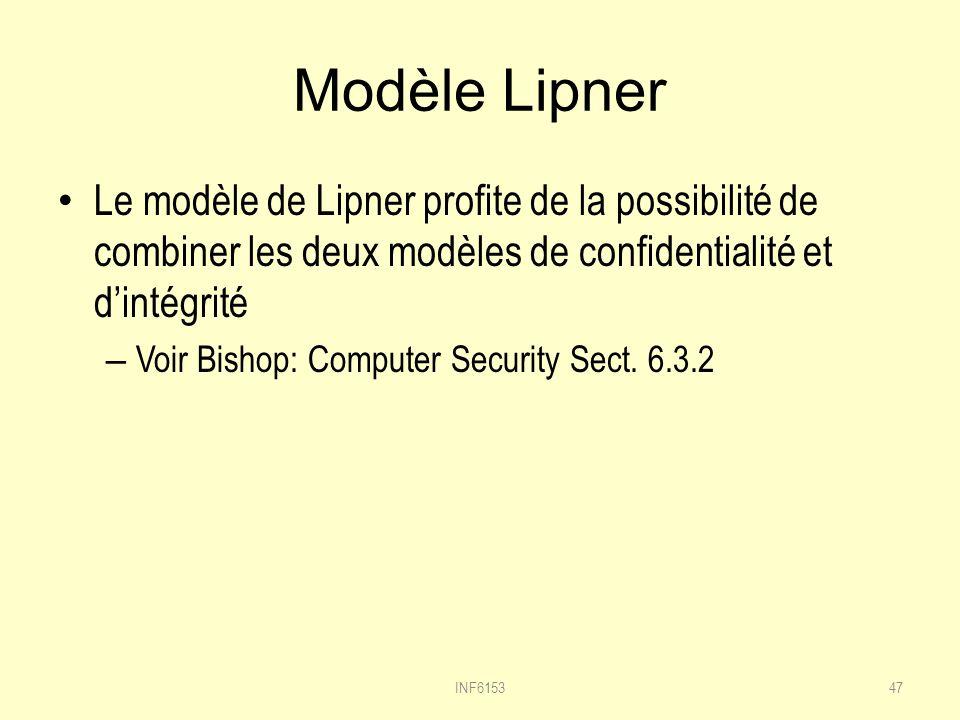 Modèle Lipner Le modèle de Lipner profite de la possibilité de combiner les deux modèles de confidentialité et dintégrité – Voir Bishop: Computer Security Sect.