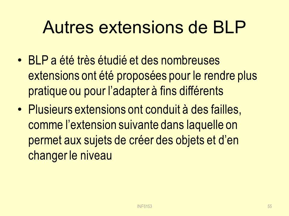 Autres extensions de BLP BLP a été très étudié et des nombreuses extensions ont été proposées pour le rendre plus pratique ou pour ladapter à fins différents Plusieurs extensions ont conduit à des failles, comme lextension suivante dans laquelle on permet aux sujets de créer des objets et den changer le niveau 55INF6153