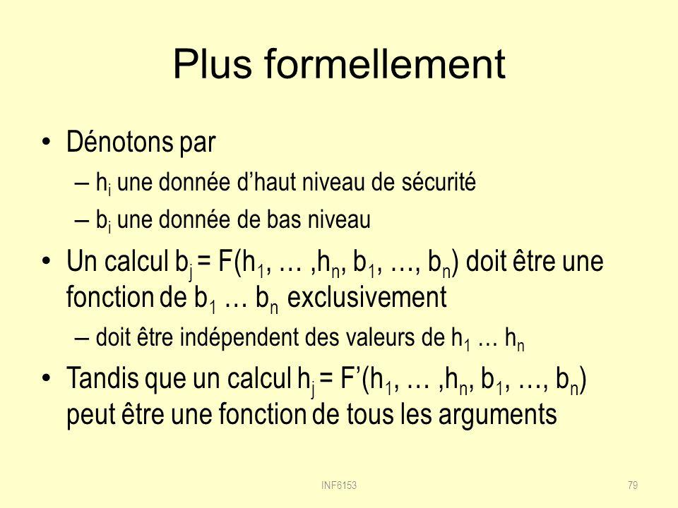 Plus formellement Dénotons par – h i une donnée dhaut niveau de sécurité – b i une donnée de bas niveau Un calcul b j = F(h 1, …,h n, b 1, …, b n ) doit être une fonction de b 1 … b n exclusivement – doit être indépendent des valeurs de h 1 … h n Tandis que un calcul h j = F(h 1, …,h n, b 1, …, b n ) peut être une fonction de tous les arguments 79INF6153