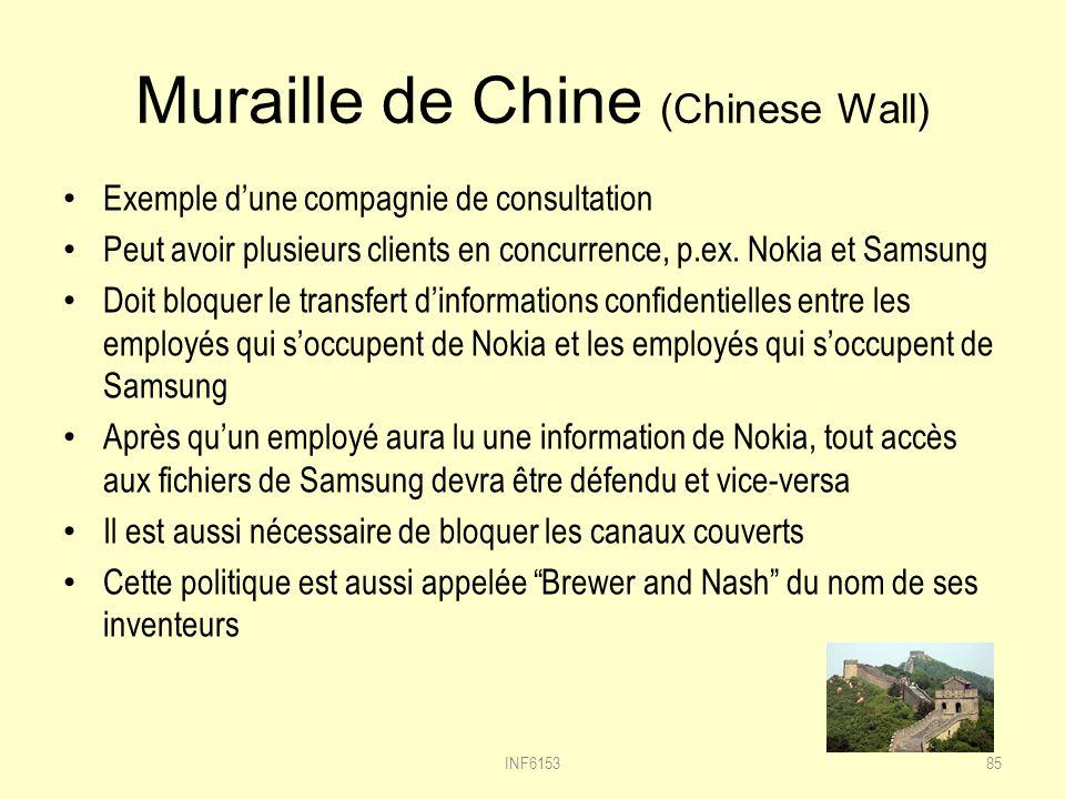 Muraille de Chine (Chinese Wall) Exemple dune compagnie de consultation Peut avoir plusieurs clients en concurrence, p.ex.