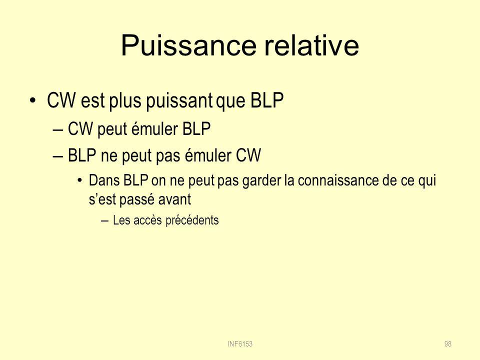 Puissance relative CW est plus puissant que BLP – CW peut émuler BLP – BLP ne peut pas émuler CW Dans BLP on ne peut pas garder la connaissance de ce qui sest passé avant – Les accès précédents 98INF6153