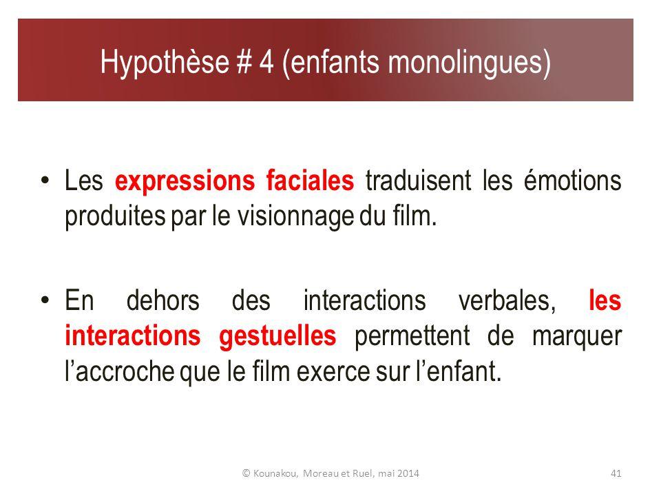 Hypothèse # 3 (enfants monolingues) Le rire apparaît aussi comme un indicateur de la construction de sens situationnel.