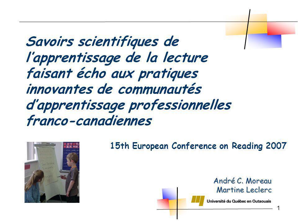 1 André C. Moreau Martine Leclerc 15th European Conference on Reading 2007 Savoirs scientifiques de lapprentissage de la lecture faisant écho aux prat