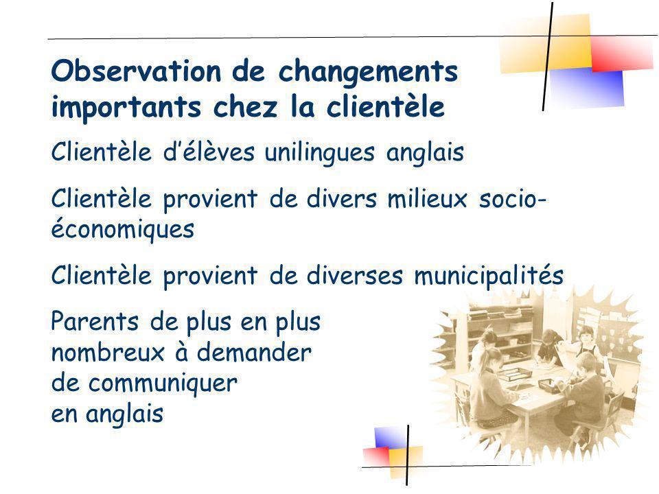 Clientèle délèves unilingues anglais Clientèle provient de divers milieux socio- économiques Clientèle provient de diverses municipalités Parents de p