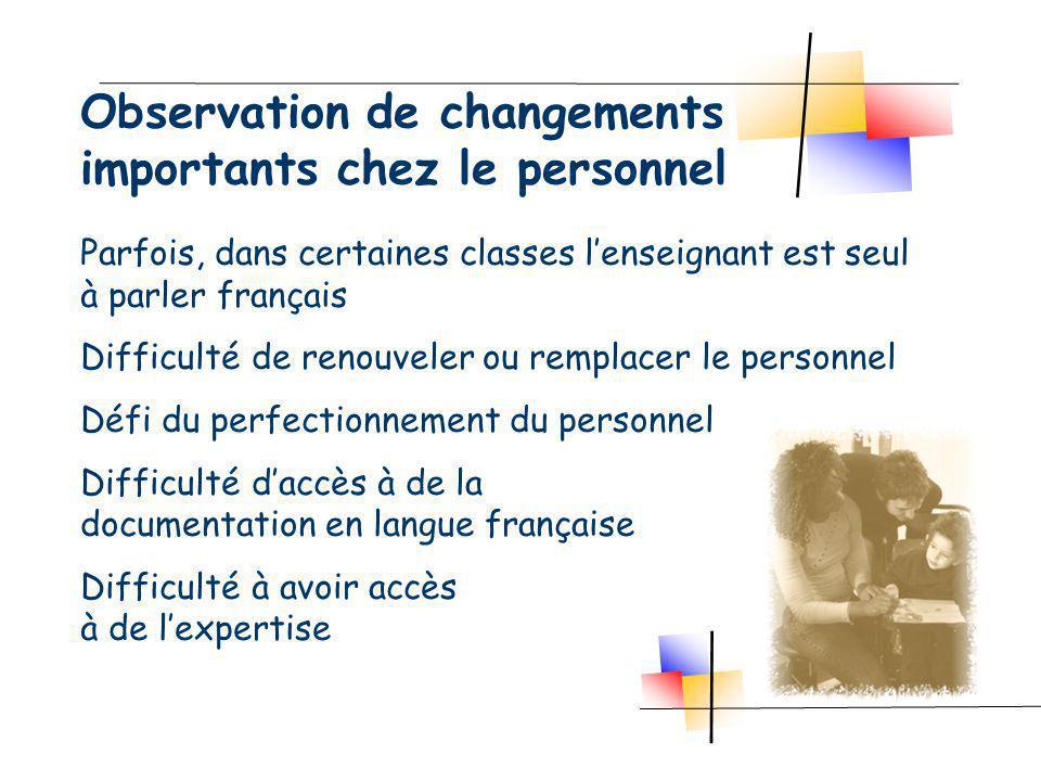 Observation de changements importants chez le personnel Parfois, dans certaines classes lenseignant est seul à parler français Difficulté de renouveler ou remplacer le personnel Défi du perfectionnement du personnel Difficulté daccès à de la documentation en langue française Difficulté à avoir accès à de lexpertise