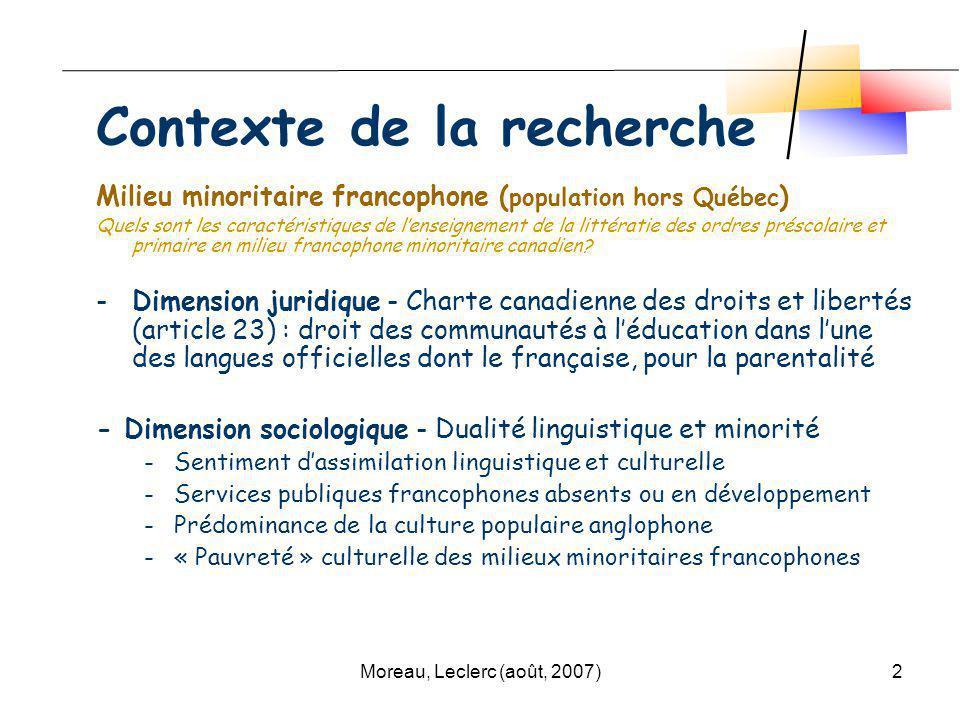 Moreau, Leclerc (août, 2007)2 Contexte de la recherche Milieu minoritaire francophone ( population hors Québec ) Quels sont les caractéristiques de le