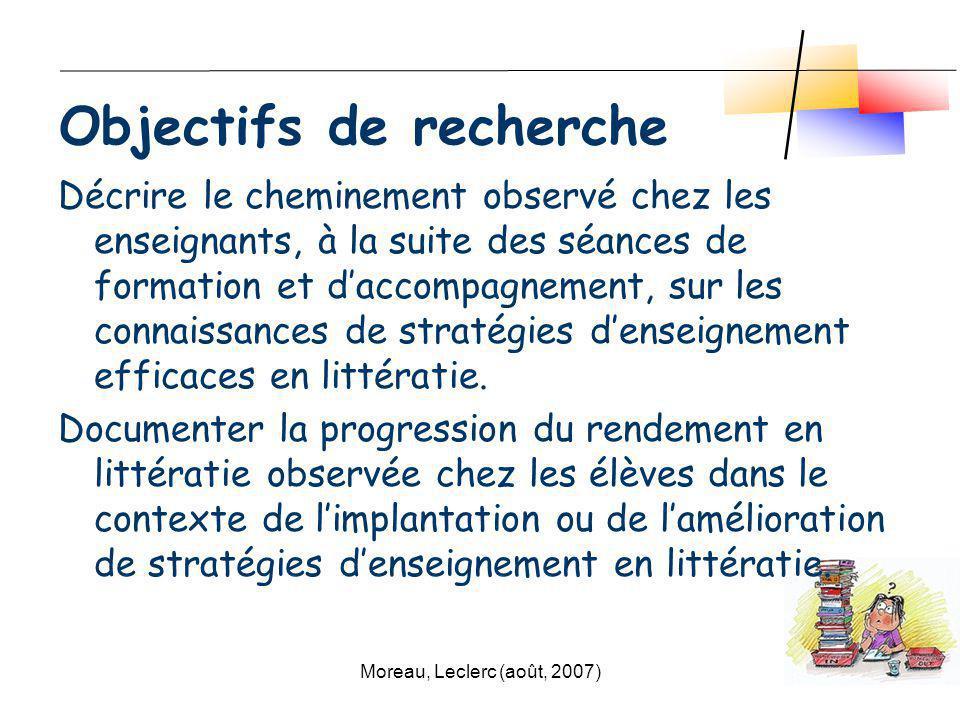 Moreau, Leclerc (août, 2007)9 Décrire le cheminement observé chez les enseignants, à la suite des séances de formation et daccompagnement, sur les con