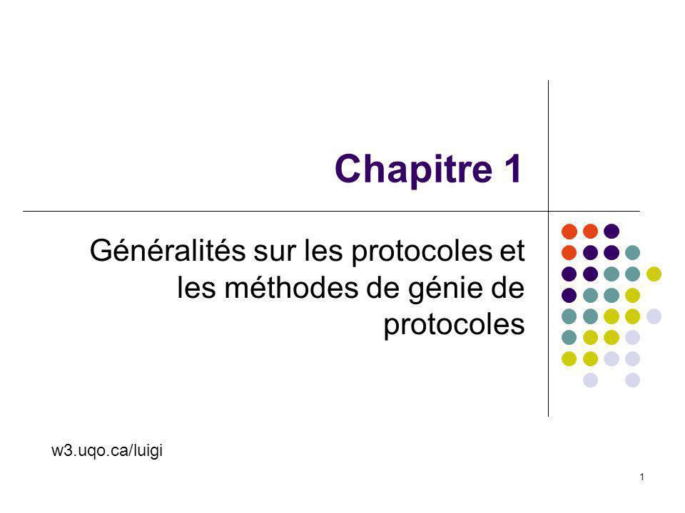 INF6001 Chap 1 2 Ce chapitre… Cycle de développement des protocoles V&V, test Modèles à couches Modèles OSI Connexion ou non Un peu dhistoire Le monde de la normalisation