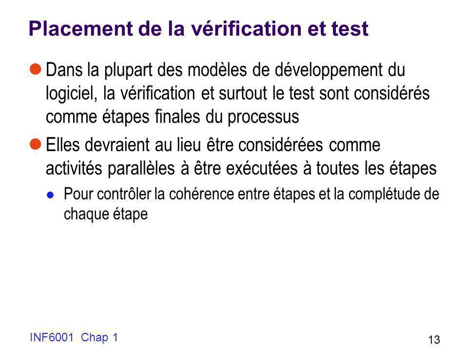 INF6001 Chap 1 13 Placement de la vérification et test Dans la plupart des modèles de développement du logiciel, la vérification et surtout le test so