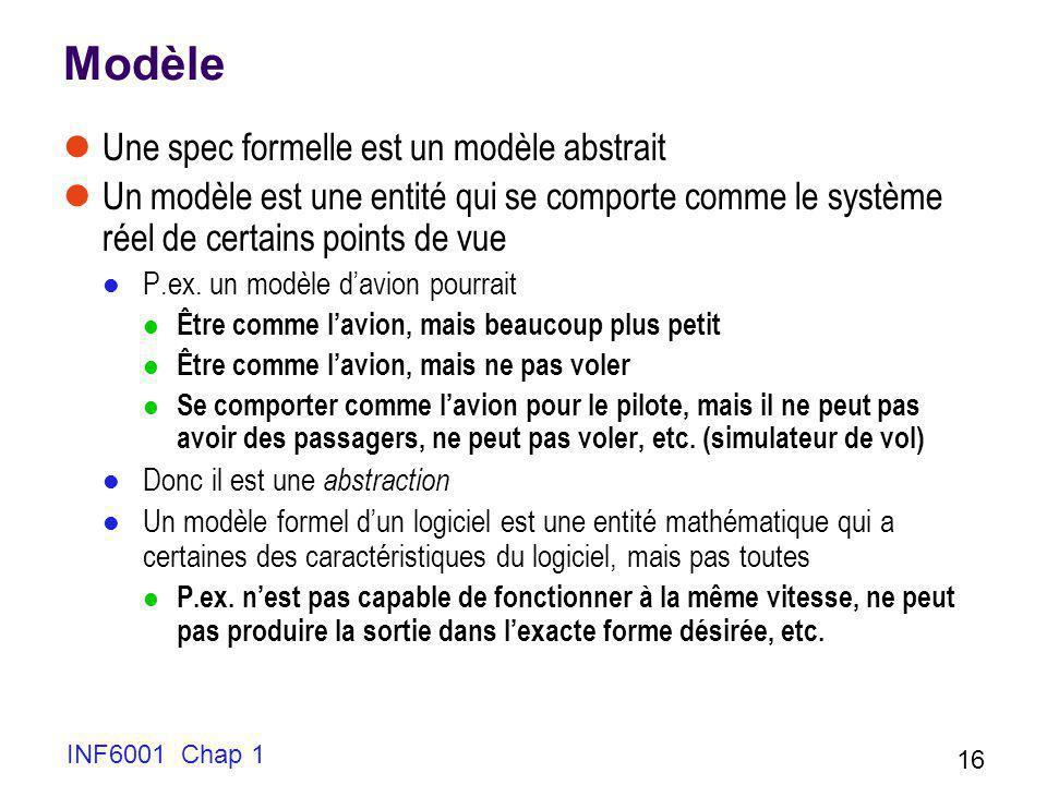 INF6001 Chap 1 16 Modèle Une spec formelle est un modèle abstrait Un modèle est une entité qui se comporte comme le système réel de certains points de