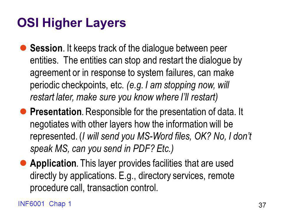 INF6001 Chap 1 37 OSI Higher Layers Session.It keeps track of the dialogue between peer entities.