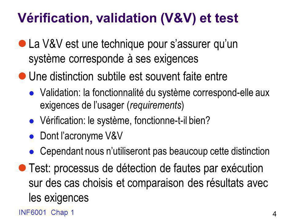 INF6001 Chap 1 4 Vérification, validation (V&V) et test La V&V est une technique pour sassurer quun système corresponde à ses exigences Une distinctio