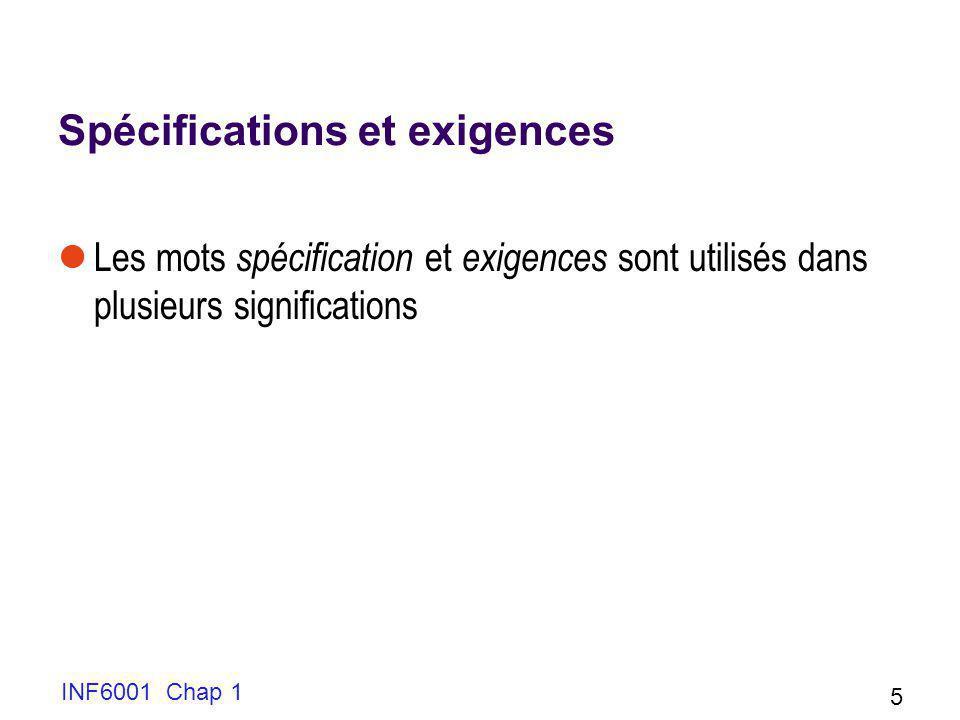 INF6001 Chap 1 5 Spécifications et exigences Les mots spécification et exigences sont utilisés dans plusieurs significations