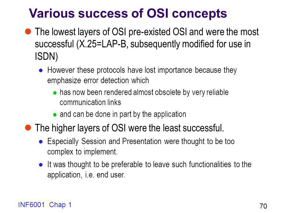INF6001 Chap 1 70 Various success of OSI concepts The lowest layers of OSI pre-existed OSI and were the most successful (X.25=LAP-B, subsequently modi
