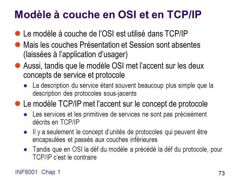 INF6001 Chap 1 73 Modèle à couche en OSI et en TCP/IP Le modèle à couche de lOSI est utilisé dans TCP/IP Mais les couches Présentation et Session sont