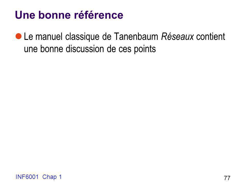 INF6001 Chap 1 77 Une bonne référence Le manuel classique de Tanenbaum Réseaux contient une bonne discussion de ces points