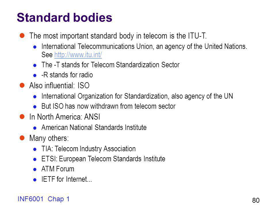 INF6001 Chap 1 80 Standard bodies The most important standard body in telecom is the ITU-T.