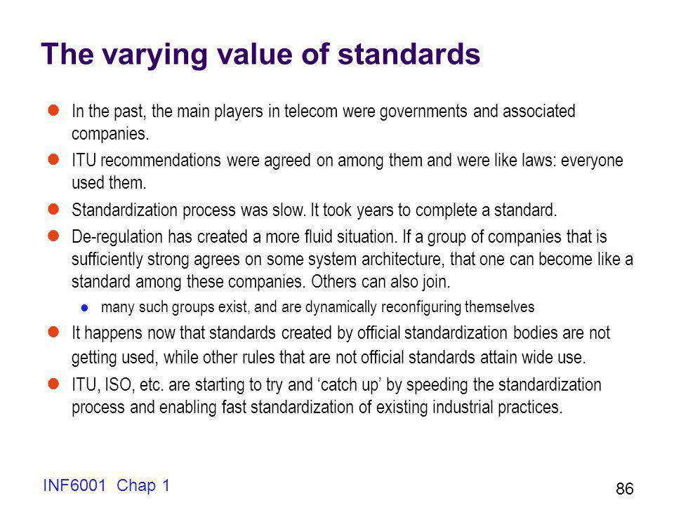 INF6001 Chap 1 86 The varying value of standards In the past, the main players in telecom were governments and associated companies.