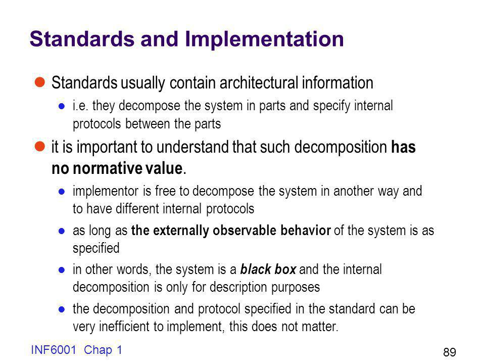 INF6001 Chap 1 89 Standards and Implementation Standards usually contain architectural information i.e.