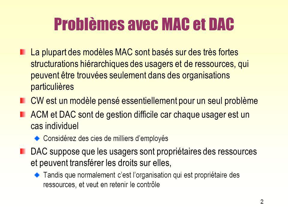 Problèmes avec MAC et DAC La plupart des modèles MAC sont basés sur des très fortes structurations hiérarchiques des usagers et de ressources, qui peu