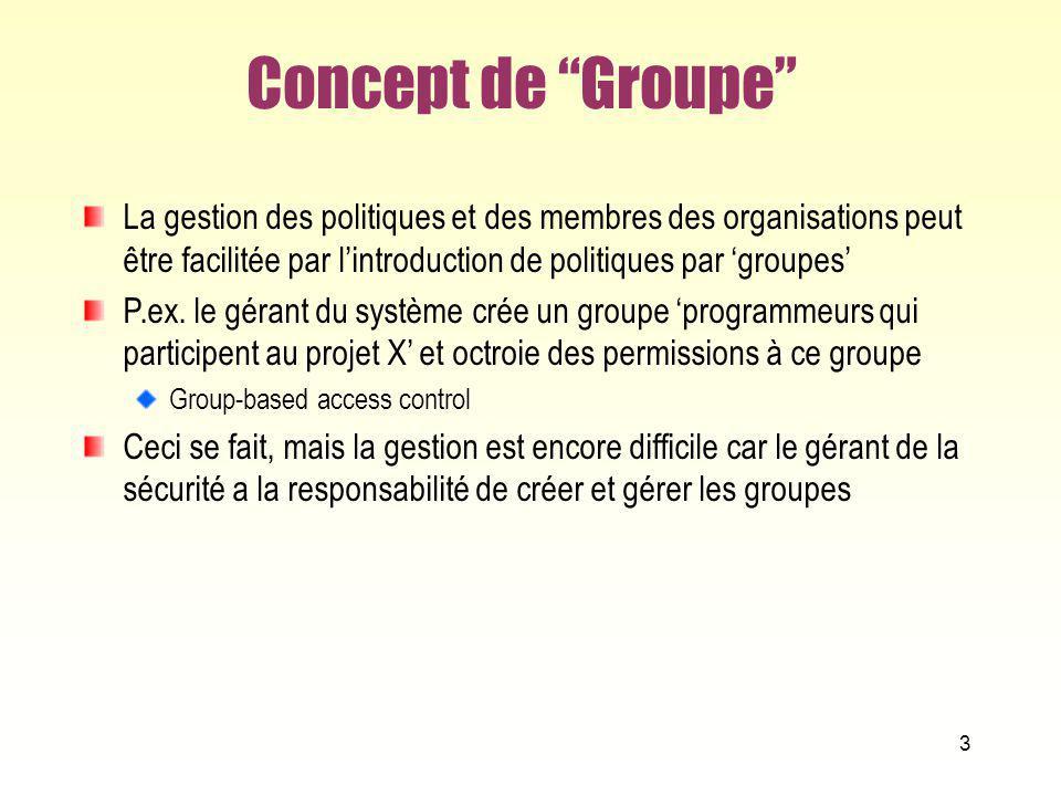 3 Concept de Groupe La gestion des politiques et des membres des organisations peut être facilitée par lintroduction de politiques par groupes P.ex. l