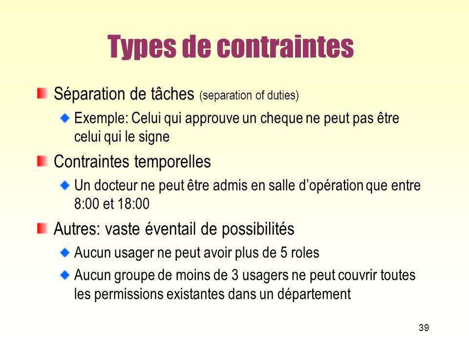 Types de contraintes Séparation de tâches (separation of duties) Exemple: Celui qui approuve un cheque ne peut pas être celui qui le signe Contraintes
