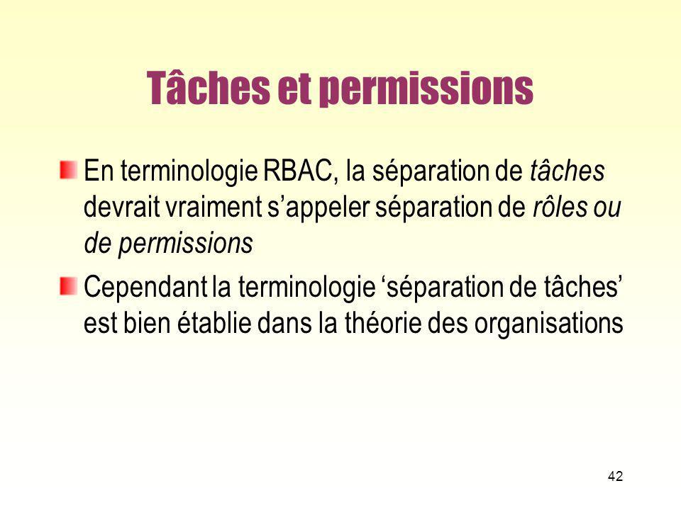 Tâches et permissions En terminologie RBAC, la séparation de tâches devrait vraiment sappeler séparation de rôles ou de permissions Cependant la termi