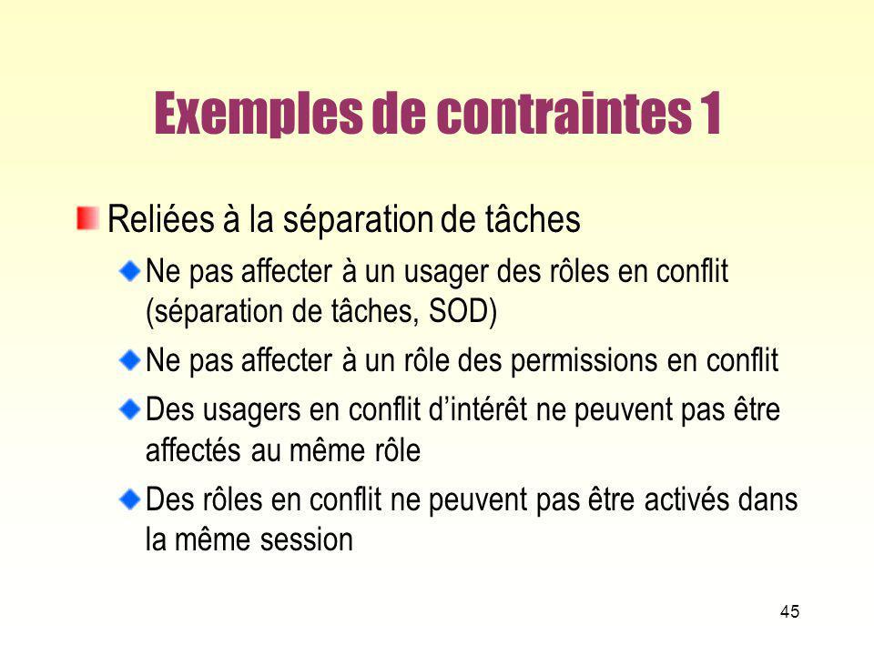 Exemples de contraintes 1 Reliées à la séparation de tâches Ne pas affecter à un usager des rôles en conflit (séparation de tâches, SOD) Ne pas affect