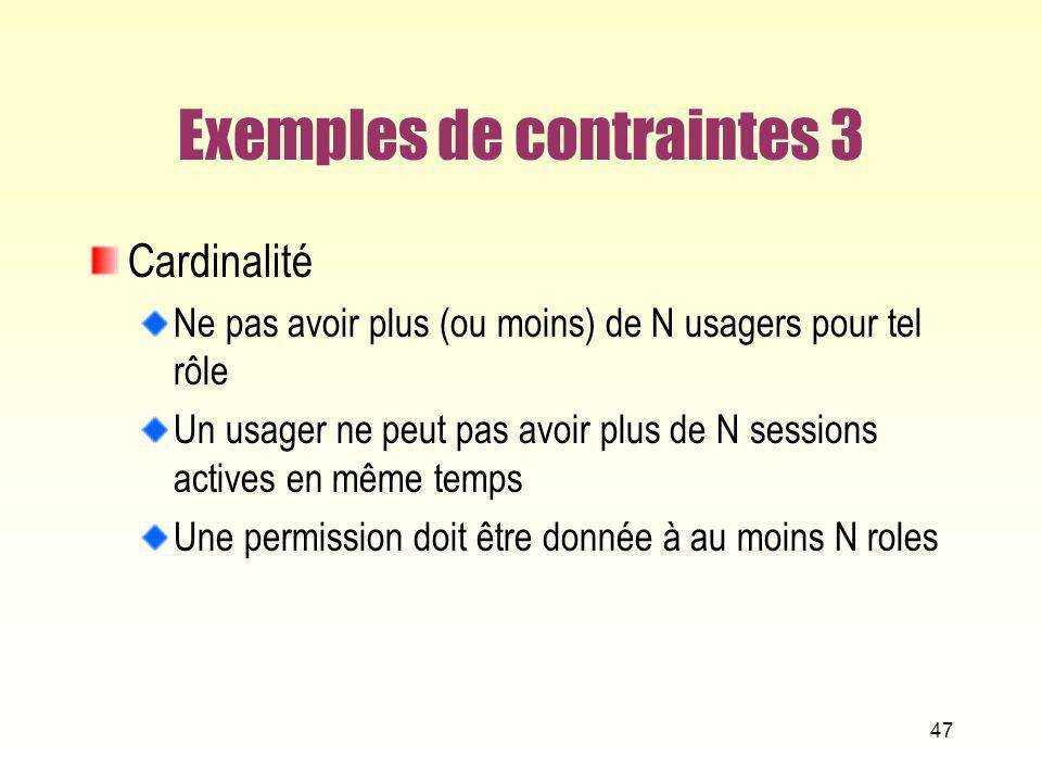 Exemples de contraintes 3 Cardinalité Ne pas avoir plus (ou moins) de N usagers pour tel rôle Un usager ne peut pas avoir plus de N sessions actives e