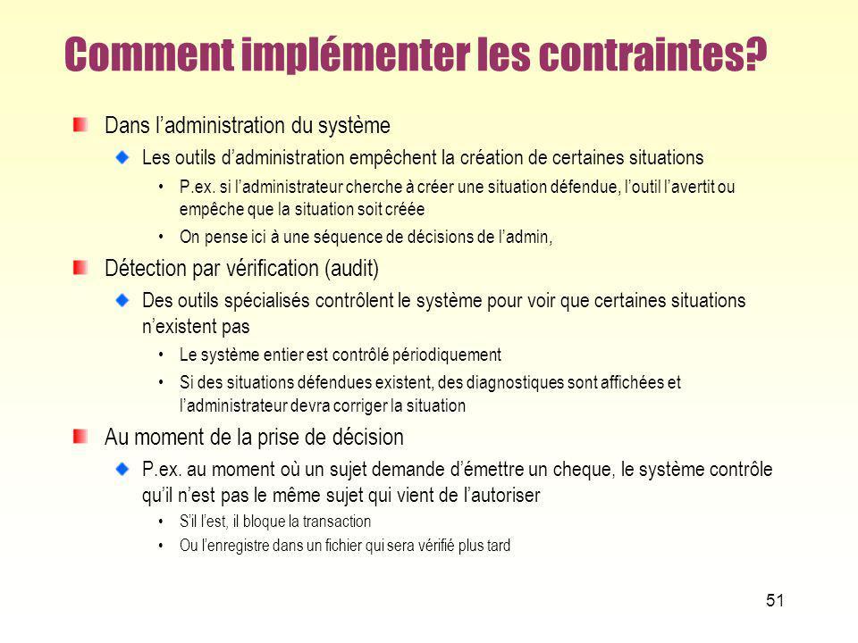 Comment implémenter les contraintes? Dans ladministration du système Les outils dadministration empêchent la création de certaines situations P.ex. si